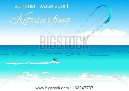 Sea kite on tropical sea background. Kitesurfing summer watersport concept