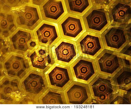 golden honeycomb wall texture gold hexagon clusters digital illustration abstract geometric background