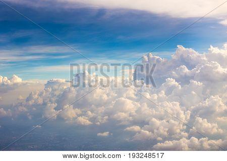 Beautiful cloud view from aeroplane wing like paradise.