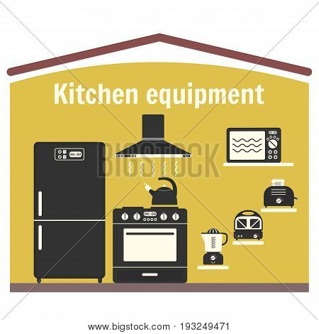 Flat vector gray monochrome kitchen equipment set. Kitchen appliance including refrigerator stove microwave oven hood kettle juicer sandwich maker and toaster