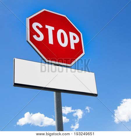 Stop sign blue sky background and copy space for your message