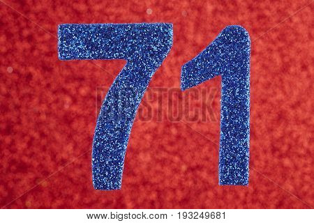 Number seventy-one blue color over a red background. Anniversary. Birthday