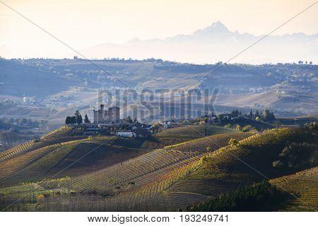 Landscape Vineyards Of Langa Piedmont Italy