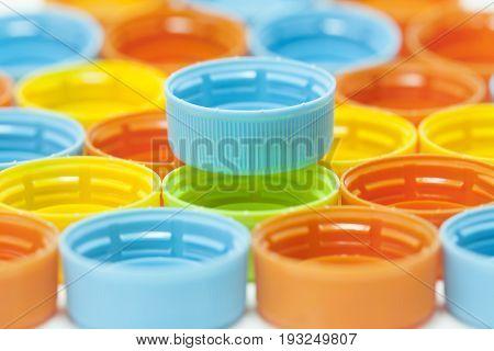 Close up of colorful plastic bottle screw caps