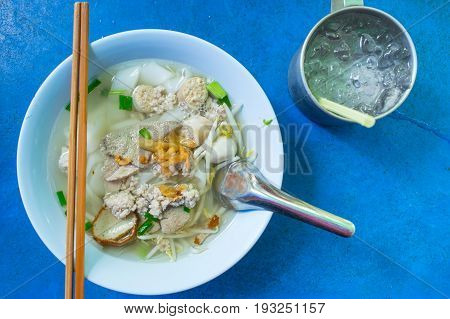 Thai chinese style noodle street food simple style.
