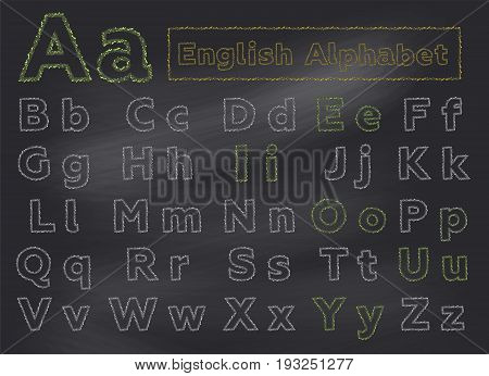 English Chalk Alphabet on School Chalkboard. Hand Drawn Letters with Thin Stroke. Sketch Style. ABC for School Books First Words Alphabet Cards for Toddlers Kids Early Childhood Education.