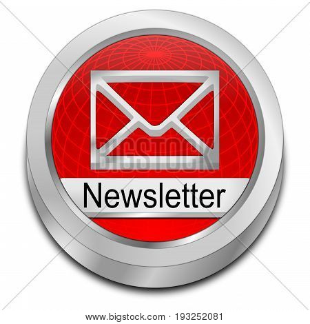 glossy red Newsletter Button - 3D illustration