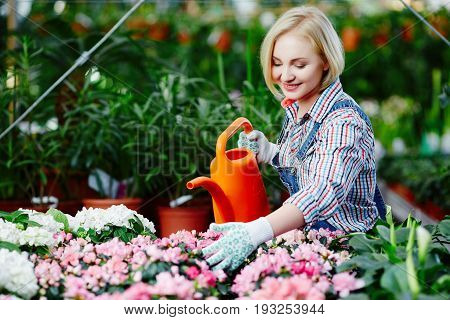 Pretty Girl With Plants