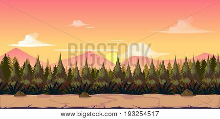 Background for your game, created in modern pinky colours. Sunset and twilight time. Vector illustration.