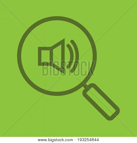Magnifying glass with loudspeaker color linear icon. Sound on. Music search. Thin line contour symbols on color background. Vector illustration