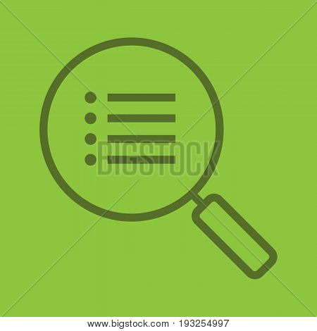 Search options color linear icon. Magnifying glass with preferences. Thin line outline symbols on color background. Vector illustration