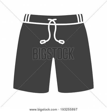 Swimming trunks glyph icon. Silhouette symbol. Sport shorts. Negative space. Vector isolated illustration