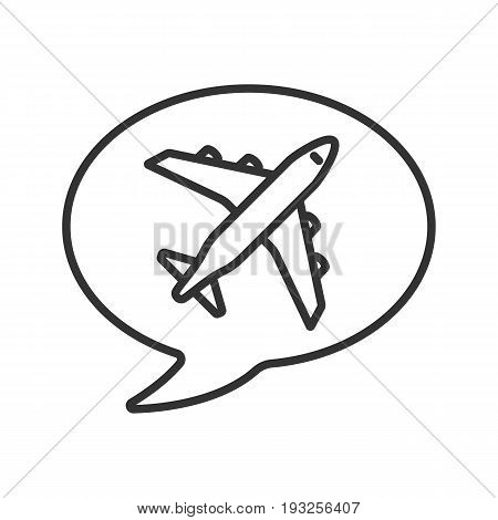 Chat box with airplane takeoff inside linear icon. Flight departure. Thin line illustration. Contour symbol. Vector isolated outline drawing