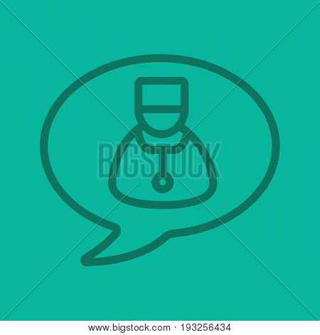 Medical consultation color linear icon. Chat bubble with doctor. Thin line outline symbols on color background. Vector illustration