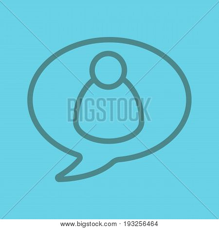 Gossip color linear icon. Chat box with man figure inside. Thin line contour symbols on color background. Vector illustration
