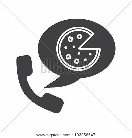 Pizza phone order glyph icon. Silhouette symbol. Handset with pizza delivery. Negative space. Vector isolated illustration