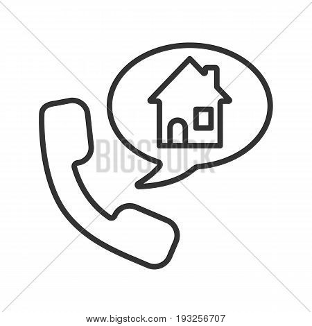 Phone rental house reserve linear icon. Thin line illustration. Room reservation. Handset with home inside speech bubble. Contour symbol. Vector isolated outline drawing