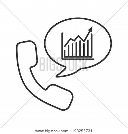 Phone call to stockbroker linear icon. Thin line illustration. Handset with income growth chart inside chat bubble. Contour symbol. Vector isolated outline drawing