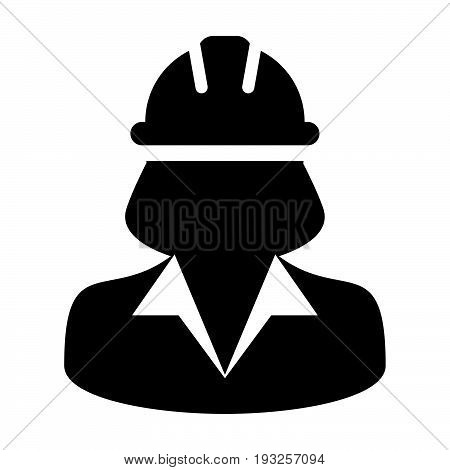 Woman Construction Worker Icon - Vector Person Profile Avatar With Hardhat Helmet in Glyph Pictogram Symbol illustration