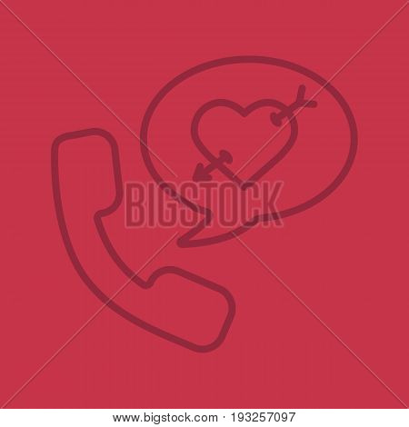 Romantic phone talk color linear icon. Handset with heart and arrow inside speech bubble. Thin line outline symbols on color background. Vector illustration