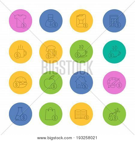 Commercial items linear icons set. Buy food, petrol, books, research, real estate, clothes, art and sport goods. Thin line outline symbols on color circles. Vector illustrations