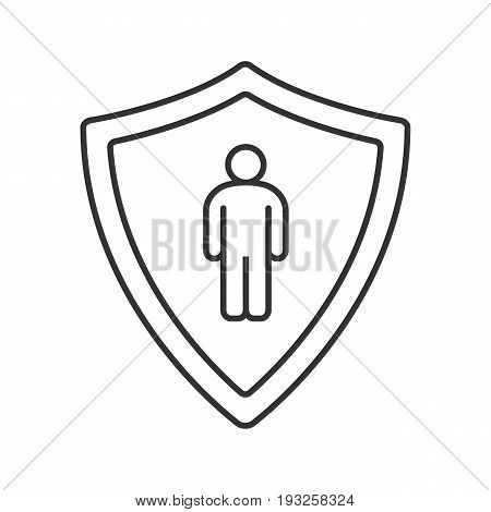Bodyguard linear icon. Thin line illustration. Man inside protection shield contour symbol. Vector isolated outline drawing