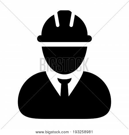 Construction Worker Icon Vector Person Profile Avatar In Glyph Pictogram Illustration