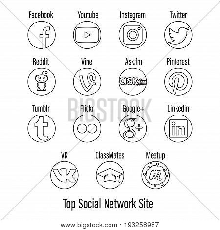Bangkok Thailand - June 29 2017 : Set of Top Social Network Site Line Icon for Example Facebook Instagram Reddit Twitter and more. Stroke is Easy to Edit. Editorial use only.