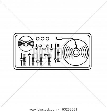 line turntable to listen and play music vector illustration
