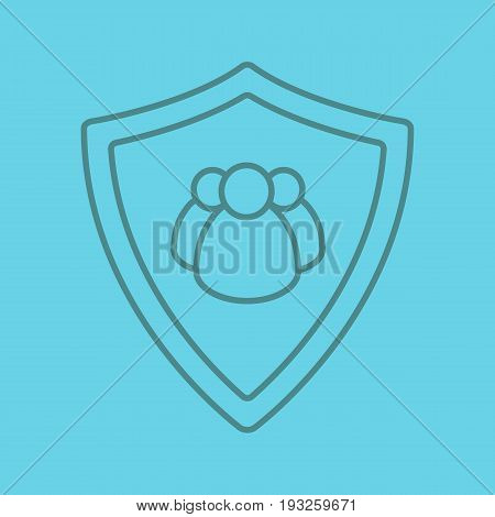 Users protection color linear icon. Collective security. Protection shield with group of people. Thin line outline symbols on color background. Vector illustration