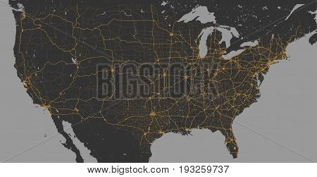 Vector Blank dark Grey similar World map isolated on gray with shiny gold roads and city icons Monochrome Worldmap template design infographics. Flat Earth Graph World map illustration.