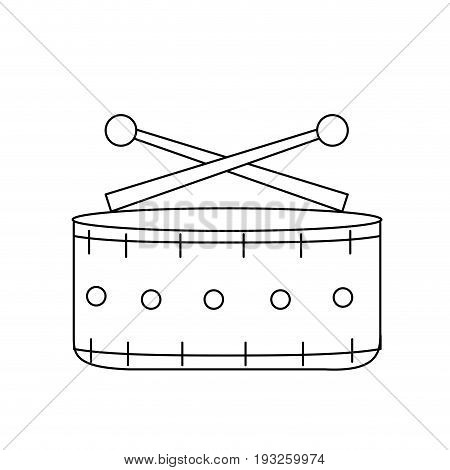 line snare drum musical instrument to play music vector illustration