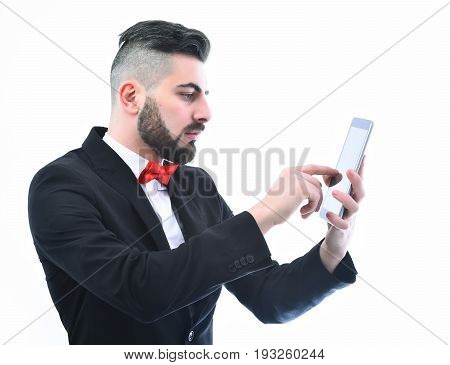 Businessman Or Insurance Agent With Beard And Moustache Holds Tablet