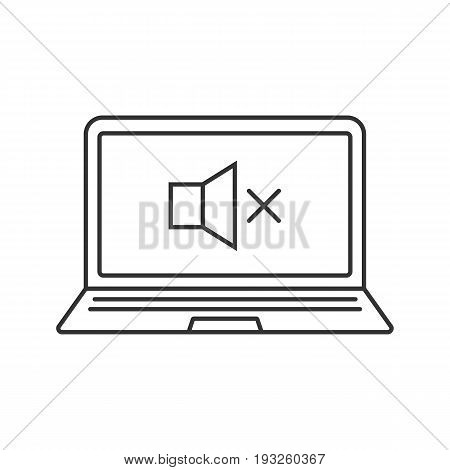 Laptop sound off linear icon. Thin line illustration. Notebook with loudspeaker contour symbol. Vector isolated outline drawing