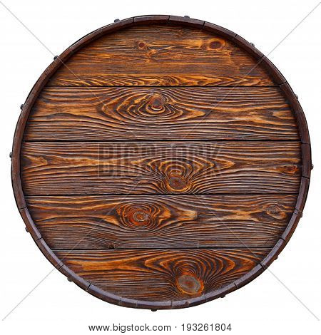 Old barrel made of wood with beautiful texture. Isolated on white. Top view