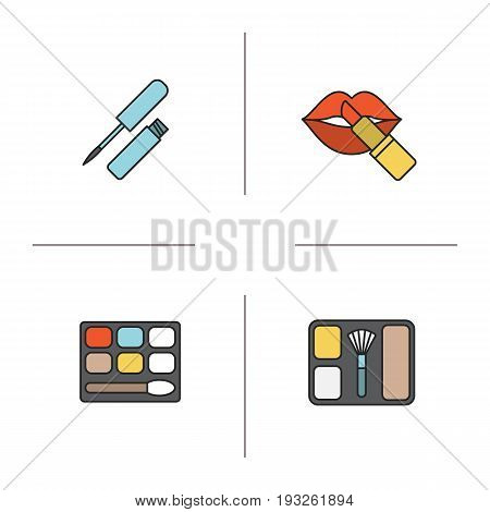 Women's cosmetics color icons set. Lip gloss, eye shadow, blusher, lipstick with lips. Isolated vector illustrations