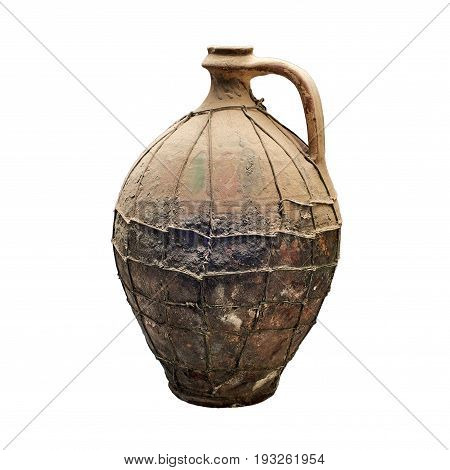 Very old handmade bottle covered with dust and cobwebs. Isolated on a white background
