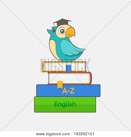 Smart parrot in graduation cap sits on a stack of books and dictionaries. Educational concept. Vector illustration