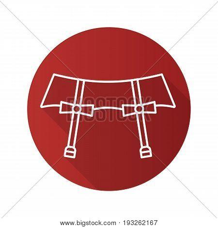 Underwear garters flat linear long shadow icon. Vector outline symbol