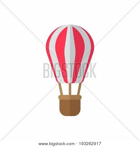 Hot air balloon flat icon filled vector sign colorful pictogram isolated on white. Symbol logo illustration. Flat style design