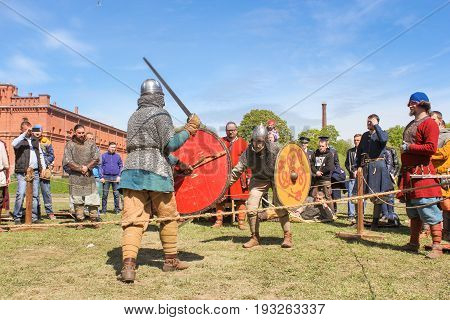 St. Petersburg Russia - 28 May, The spectators and participants of the tournament, 28 May, 2017. Knight tournament at the festival of ancient Vikings in St. Petersburg.