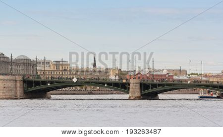 St. Petersburg Russia - 28 May, Bike ride on the Exchange Bridge, 28 May, 2017. Famous sightseeing places of St. Petersburg for tourists.