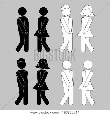 WC sign. Boy and girl toilet icons or female and male bathroom symbols - vector