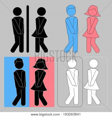 WC. Boy and girl toilet icons or female and male bathroom symbols - vector