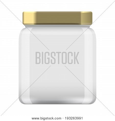 Glass Jar for canning and conservation. Empty jar mock up design template cap. Illustrated vector.
