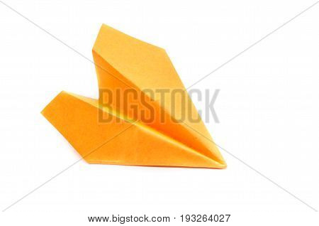pointed origami paper plane on white background