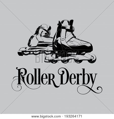 Monochrome Sport Poster with words Roller Derby and image of rollers vector illustration