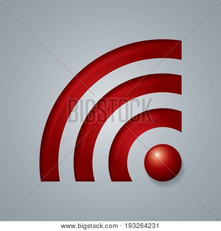 Wireless Network Symbol Object red colored consisting of four elements sign vector illustration