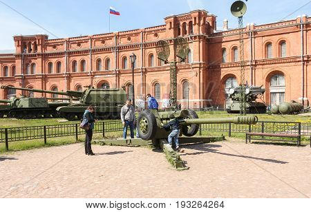 St. Petersburg Russia - 28 May, People have howitzer D-30, 28 May, 2017. Military History Museum of combat equipment in St. Petersburg.