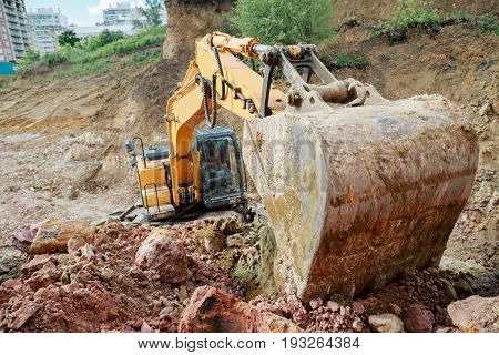 Excavator Bucket Close-up. Strength And Power Of The Construction Machine.
